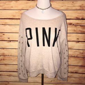 VS PINK Slouchy Bling Sleeve Sweatshirt